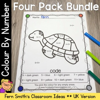 Colour By Numbers Ocean Animals Mixed Math Problems Bundle