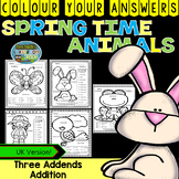 Colour By Numbers Spring Time Three Addend Addition UK
