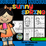 Colour By Numbers Sunny Spring Three Addend Addition UK