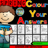 Colour By Numbers Sunny Spring Three Addends Addition and Two-Step Subtraction