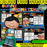 Colour By Numbers Sunny Spring Two-Step Math Problems Bundle