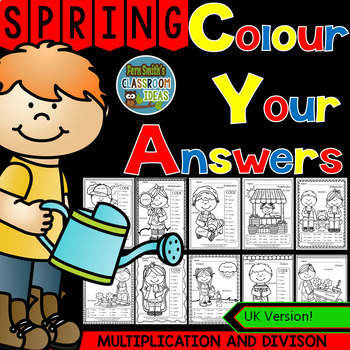 Colour By Numbers Sunny Spring Two-Step Multiplication and Division Bundle