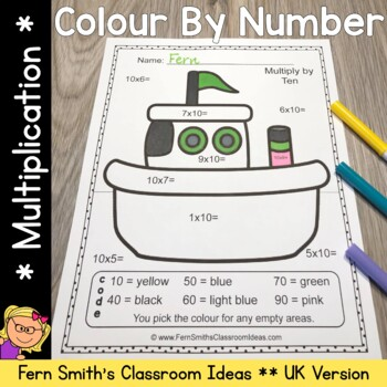 Colour By Numbers Transportation Multiplication UK Version Bonus Coloring Pages