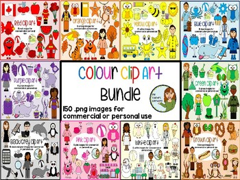 Colour Clip Art BUNDLE - 90 .png images for personal or co