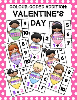 Colour-Coded Addition Clip Cards: Valentine's Day