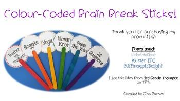 Colour-Coded Brain Break Sticks