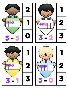 Colour-Coded Subtraction Clip Cards: Valentine's Day