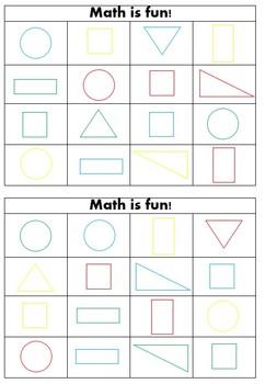Colour (Color) and Basic Geometric Shape Bingo (Printer Friendly)