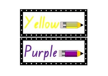 Colour Words Display - Word Wall - Polka Dot Theme