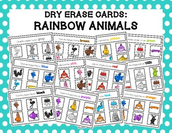 Colour Dry Erase Cards: Rainbow Animals