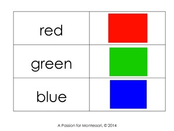 Colour Matching Cards, 11 basic colours, basic reading, Montessori