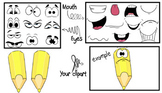 Colour Pencils- Cliparts Creator Kit- For Personal or Comm