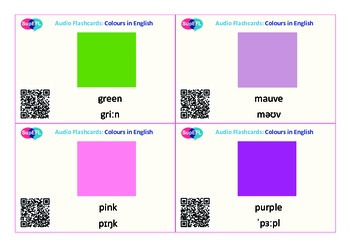 Colour QR code flashcards