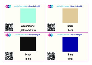 Colour QR code flashcards