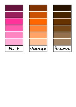 Colour Shades/Tints Paint Swatches