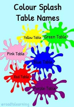 Colour Splash Table Names