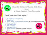 Colour Theme Activities and a Blank Lesson Plan Template