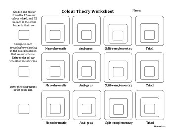 Colour Theory Worksheet (Canadian version)