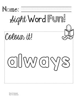 Colour, Trace, Write: Second Grade Sight Words!