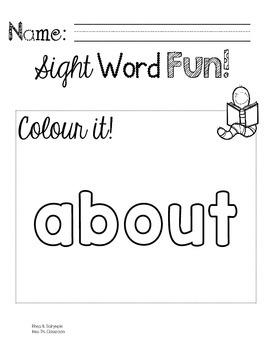 Colour, Trace, Write: Third Grade Sight Words!