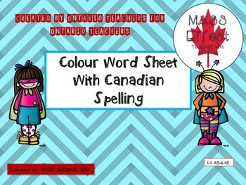 Freebie  Colour Words for Primary with UK/ Canadian spelling