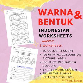 Colour and Shape in Indonesian (Worksheets & Answer Keys) | Warna dan Bentuk