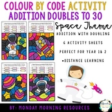 Colour by Code Addition Doubles to 30 - Space Themed - Dis