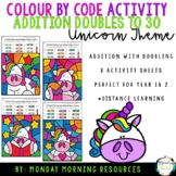 Colour by Code Addition Doubles to 30 - Unicorn Themed - D