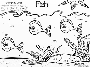Colour by Code - Fish (Additions to 20)
