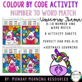 Colour by Code - Number Word Match 0-10 - Unicorn Theme -
