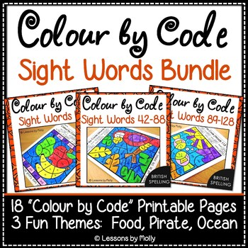 Colour by Code Sight Words Bundle Food/Pirate/Ocean 128 Words {British Spelling}
