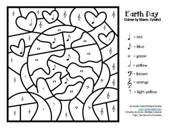 Colour by Music Symbol Earth Day Drawings