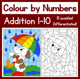 Colour by Numbers - Addition 1-10 (15 puzzles)