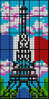 Colour by Numbers in French - Eiffel Tower (4 Versions, 30-worksheets each)