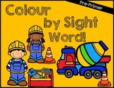 Colour by Sight Word: Pre-Primer Construction Edition