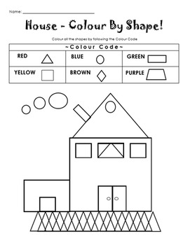 colour by shape house by bitsbybets teachers pay teachers. Black Bedroom Furniture Sets. Home Design Ideas