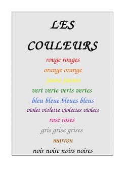 Colour charts & cloze in French Wishlist Priced