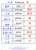 Colour charts in Japanese
