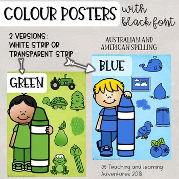 Colour/color posters with character- black font