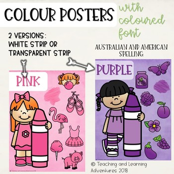 Colour/color posters with character- colour font
