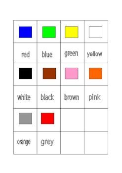 Colour matching worksheet