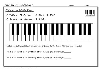 Colour the White Keys Activity