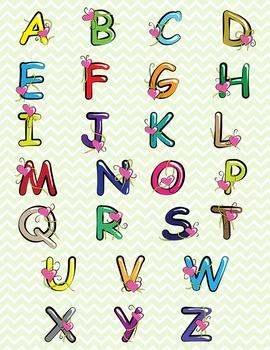 Coloured Alphabet Letters Clip Art - Valentine's Day!