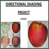 Coloured Apple drawing with directional shading guide