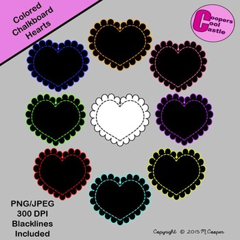 Coloured Chalkboard Stitched Scalloped Hearts (Digital Clip Art) CCC