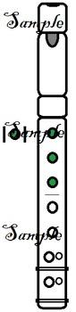 Coloured Recorder Fingering Graphics Set 2c - Chromatic C to D'