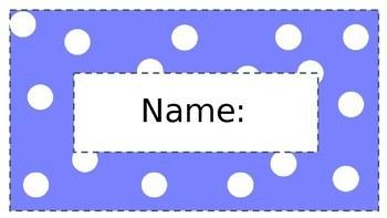 Coloured Spot Name Tags - Editable