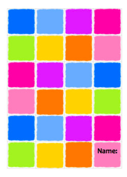 Coloured Square Book front cover Editable