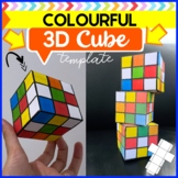 Colourful 3D cube template paper craft- 3D shape colour and folding worksheets