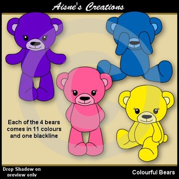 Colourful Bears Clip Art Pack